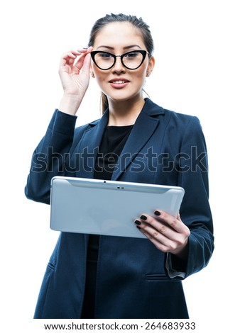 isolated on white young attractive woman holding tablet computer