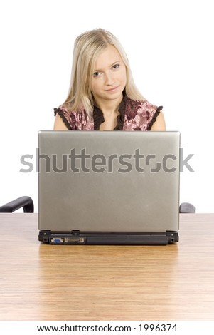isolated on white young blonde woman at the desk working laptop - stock photo