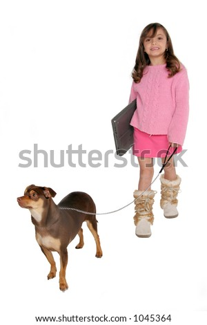 isolated on white young girl take's dog for a walk carrying her laptop - stock photo