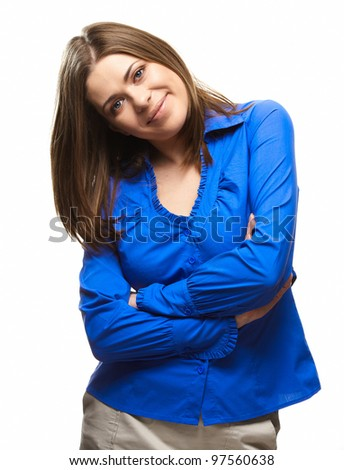isolated on white young woman standing against background - stock photo