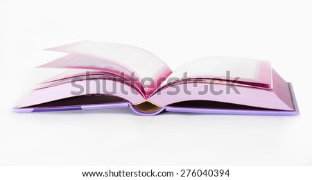 Isolated open book with pink decoration - stock photo