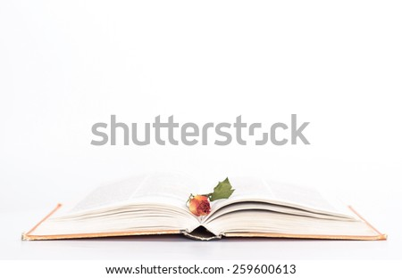 isolated open book with withered rose. side view.