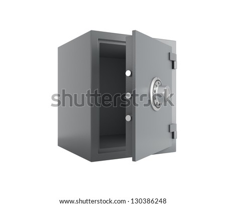 isolated open safe side view - stock photo