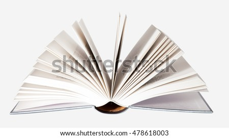 Isolated opened book