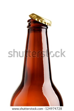 Isolated opened bottle with  crown cap on a white background - stock photo