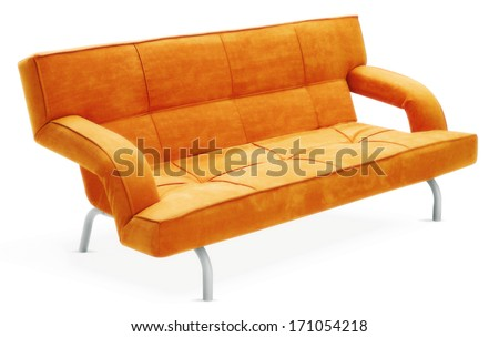 isolated orange couch  - stock photo