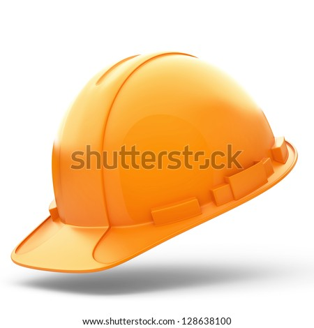 Isolated Orange Helmet for Builder on White Background - stock photo