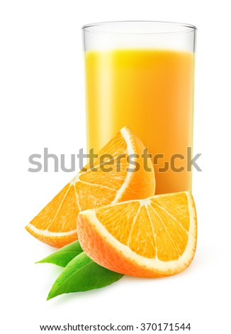 Isolated orange juice. Glass of orange fruit juice and two slices isolated on white background with clipping path - stock photo