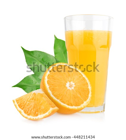 Isolated orange juice with slices of oranges on white background. 100 percent fresh and organic. Sweet juicy cocktail in glass. Natural antioxidant. - stock photo