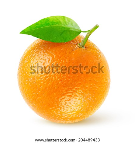 Isolated orange. One fresh orange fruit with leaf over white background