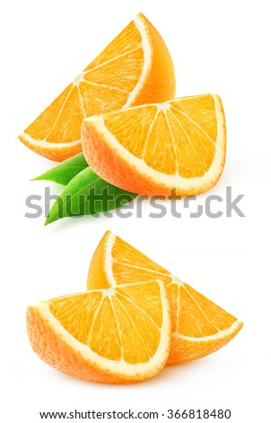 Isolated orange slices. Collection of two images with orange fruit slices isolated on white background with clipping path - stock photo