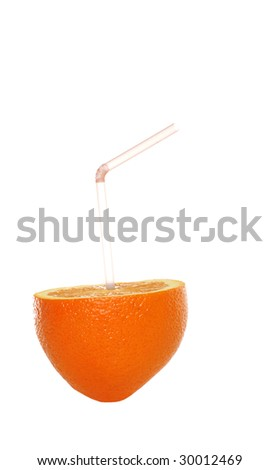 Isolated orange with a straw