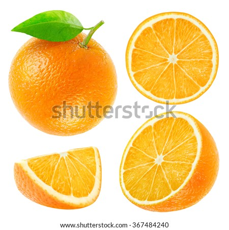 Isolated oranges. Collection of whole and sliced orange fruits isolated on white background with clipping path - stock photo