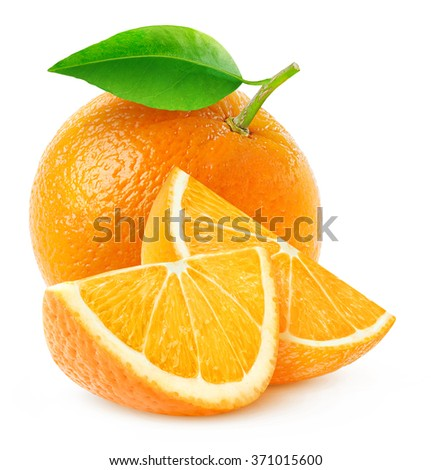Isolated oranges. Whole orange fruit and two slices isolated on white background with clipping path - stock photo