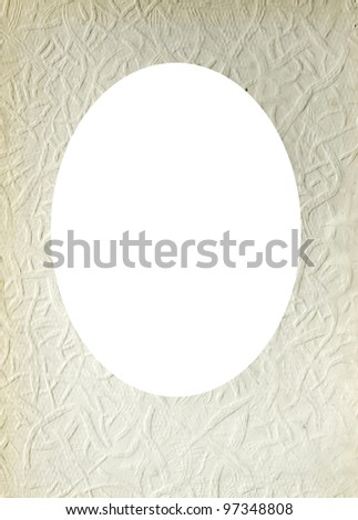 Isolated oval place for text photograph image surrounded old paper texture wallpaper wall. - stock photo