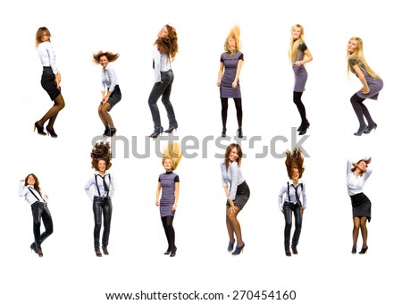 Isolated over White Women Diversity  - stock photo