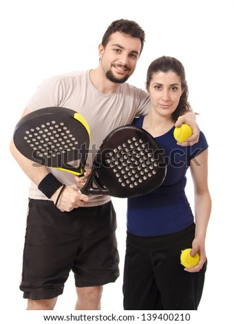 Isolated paddle tennis couple