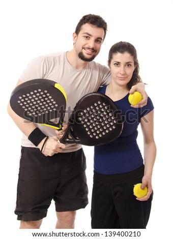 Isolated paddle tennis couple - stock photo