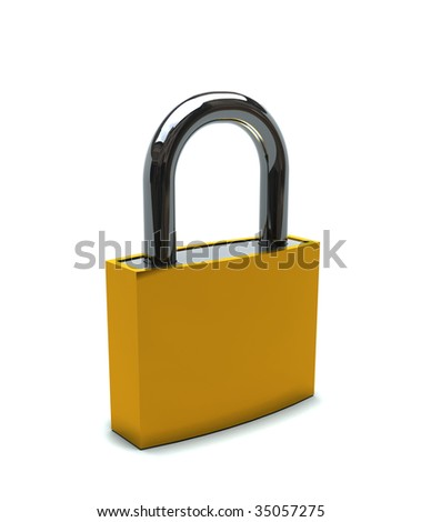 isolated padlock on white background