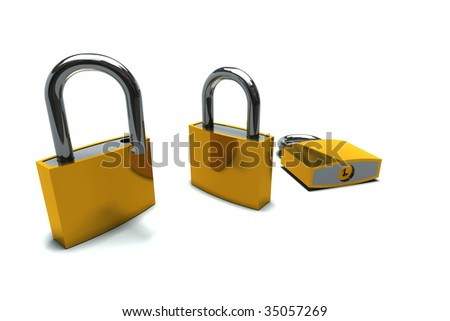 isolated padlocks in open and closed positions
