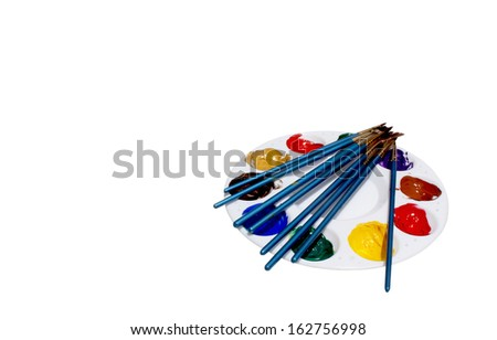 isolated palette with eight blue paint brushes