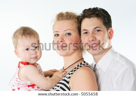 isolated parent father mother baby three white - stock photo