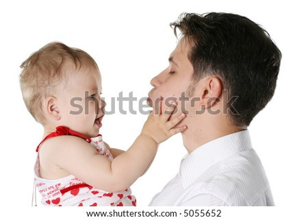 isolated parent male people father child positivity - stock photo