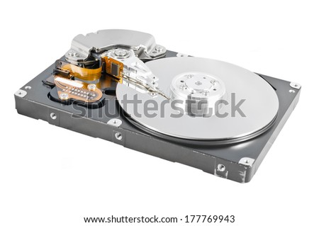 Isolated parsed hard disk drive on a white background