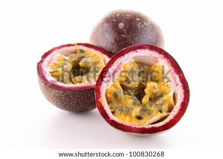 isolated passion fruit - stock photo