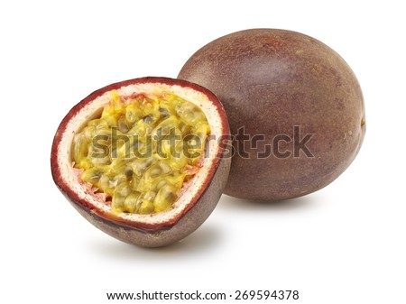 Isolated passion fruit cut in half on white background- clipping path include - stock photo