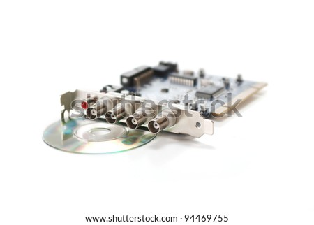 Isolated pci 4 channel frame grabber on white background