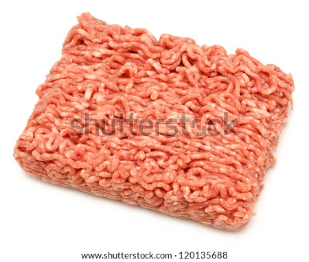 Isolated peace of raw minced beef on white background