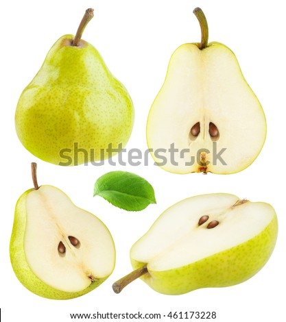 Isolated pears. Collection of whole and sliced yellow green pear fruits isolated on white background with clipping path