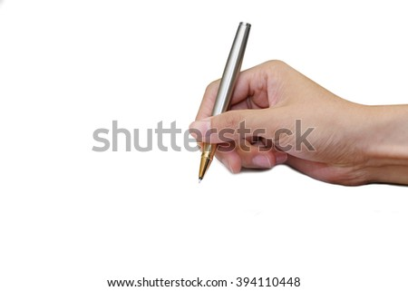 isolated pen in the man's hand in writing position - stock photo