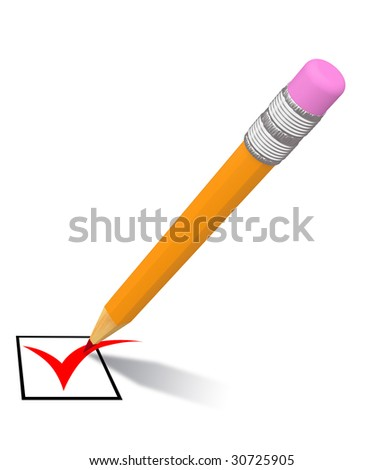 isolated pencil with red mark on white background - stock photo