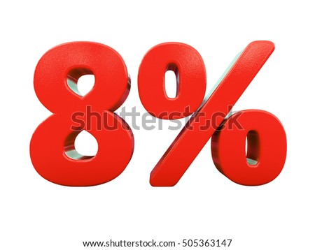 Isolated 8 Percent Discount 3d Sign on White Background, Special Offer 8% Discount Tag, Sale Up to 8 Percent Off, Sale Symbol, Special Offer Label, Sticker, Tag, Badge, Emblem, Web Icon