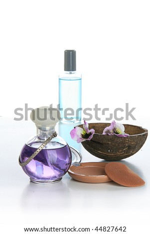 isolated perfume and cosmetics