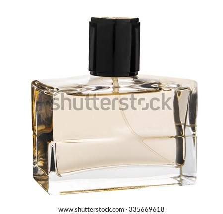 Isolated perfume bottle. Contains transparency. - stock photo