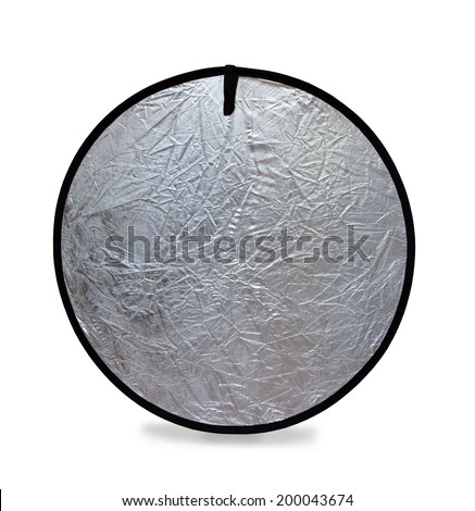 Isolated photo of a photography light reflector in silver - stock photo