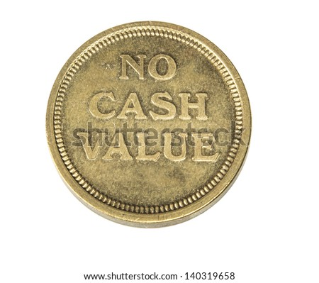 isolated photo of a token coin for arcade games and casino slot machines - stock photo