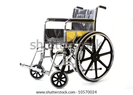Isolated photo of a wheelchair.