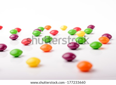Isolated photo of colorful candies - stock photo