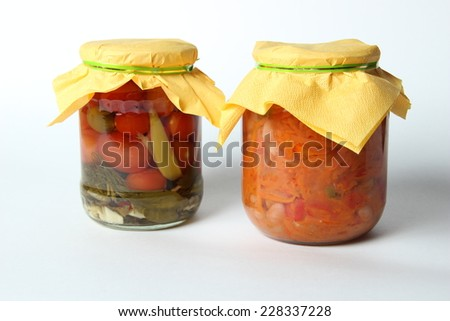 isolated pickled vegetables on white background
