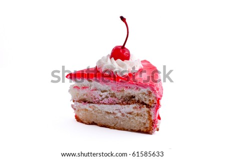 Isolated piece of cake with cherry and cream