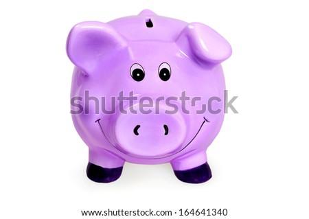 Isolated piggybank on white background - stock photo