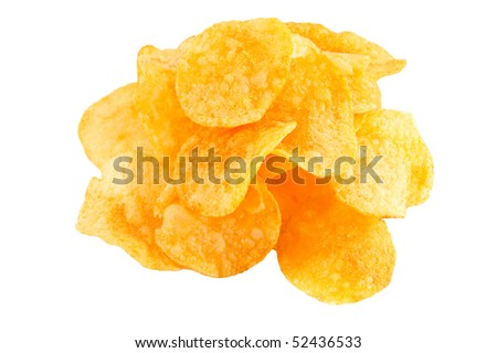 Isolated pile of unhealth snack - potato chips