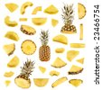 Isolated pineapple collection - stock photo