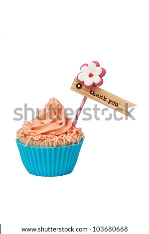 isolated pink blue cupcake with thank you label - stock photo