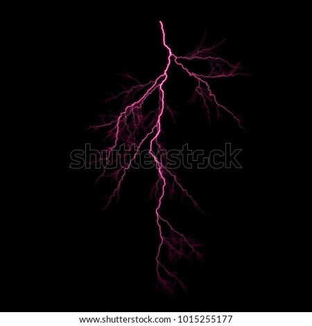 Isolated pink electrical lightning strike visual effect on black background.