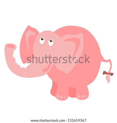 Isolated pink elephant - raster version